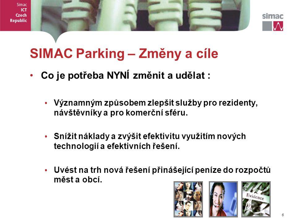 6 6 SIMAC Parking – Změny a cíle Co je potřeba NYNÍ změnit a udělat : Významným způsobem zlepšit služby pro rezidenty, návštěvníky a pro komerční sféru.