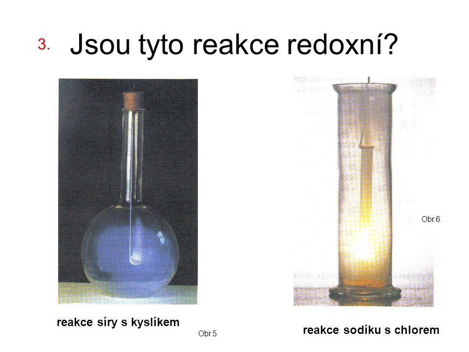 Jsou tyto reakce redoxní reakce sodíku s chlorem reakce síry s kyslíkem 3. Obr.5. Obr.6.
