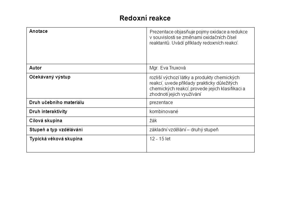 AnotacePrezentace objasňuje pojmy oxidace a redukce v souvislosti se změnami oxidačních čísel reaktantů.