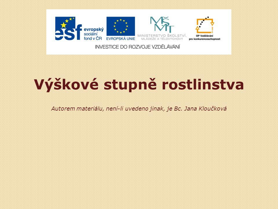 Výškové stupně rostlinstva Autorem materiálu, není-li uvedeno jinak, je Bc. Jana Kloučková