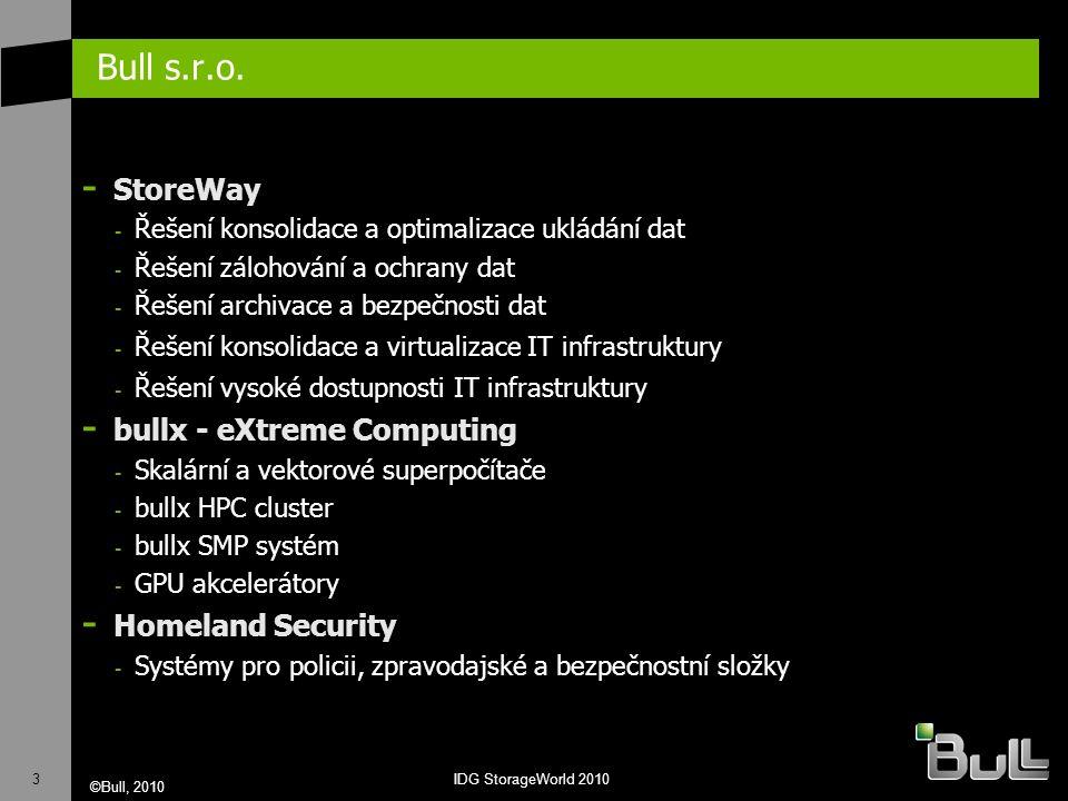 3 ©Bull, 2010 IDG StorageWorld 2010 Bull s.r.o. - StoreWay - Řešení konsolidace a optimalizace ukládání dat - Řešení zálohování a ochrany dat - Řešení