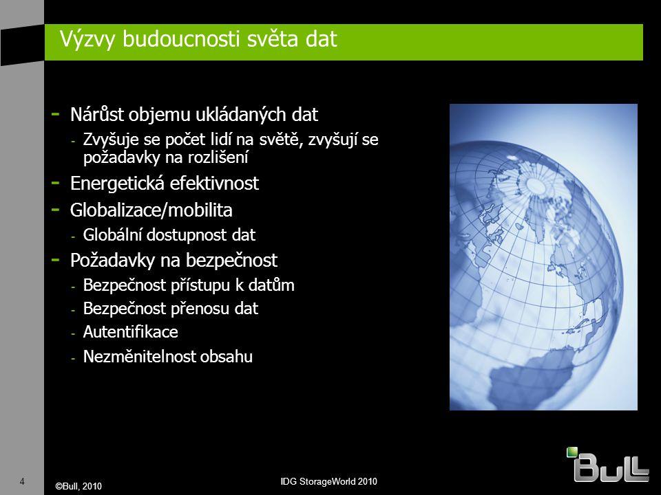 4 ©Bull, 2010 IDG StorageWorld 2010 Výzvy budoucnosti světa dat - Nárůst objemu ukládaných dat - Zvyšuje se počet lidí na světě, zvyšují se požadavky na rozlišení - Energetická efektivnost - Globalizace/mobilita - Globální dostupnost dat - Požadavky na bezpečnost - Bezpečnost přístupu k datům - Bezpečnost přenosu dat - Autentifikace - Nezměnitelnost obsahu