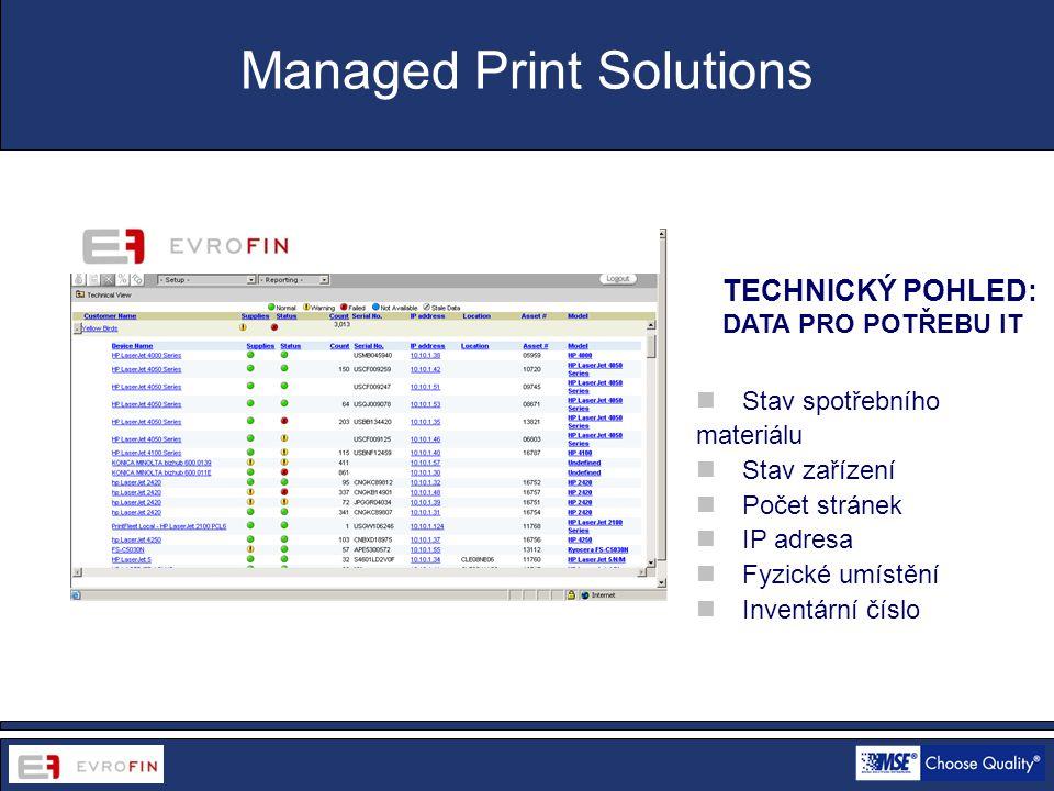 www.cdsofficetech.com TECHNICKÝ POHLED: DATA PRO POTŘEBU IT Managed Print Solutions  Stav spotřebního materiálu  Stav zařízení  Počet stránek  IP adresa  Fyzické umístění  Inventární číslo