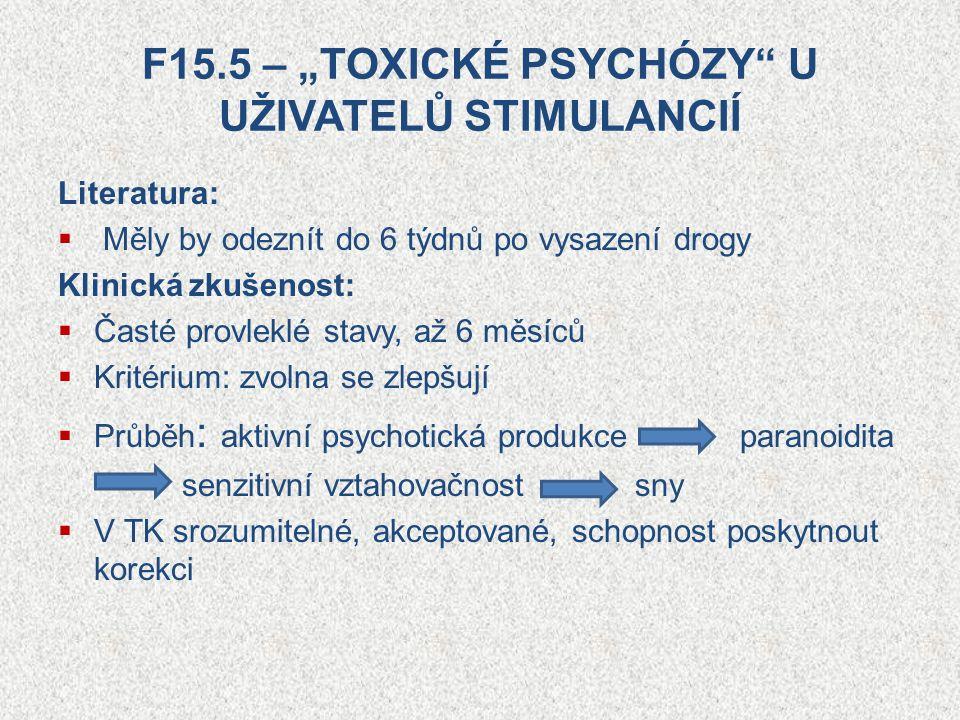 """F15.5 – """"TOXICKÉ PSYCHÓZY"""" U UŽIVATELŮ STIMULANCIÍ Literatura:  Měly by odeznít do 6 týdnů po vysazení drogy Klinická zkušenost:  Časté provleklé st"""