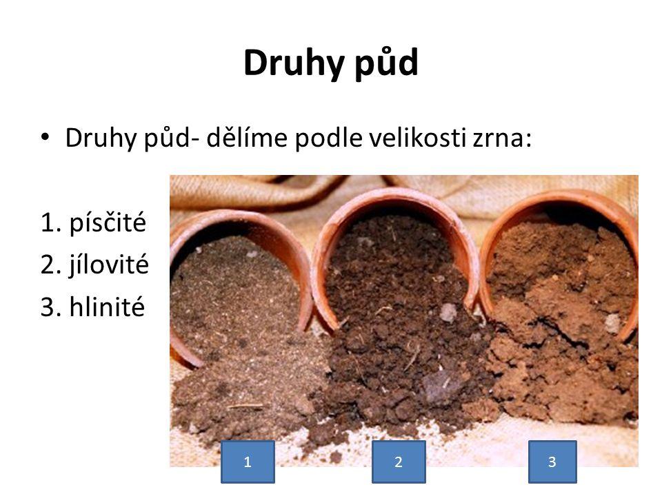 Druhy půd Druhy půd- dělíme podle velikosti zrna: 1. písčité 2. jílovité 3. hlinité 123