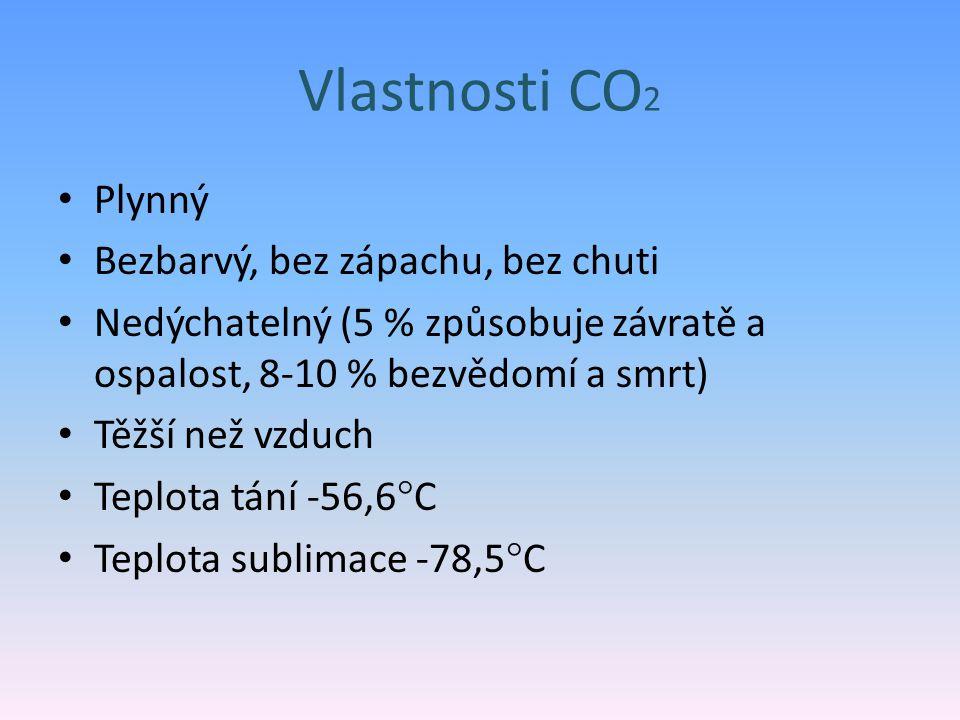 Vlastnosti CO 2 Plynný Bezbarvý, bez zápachu, bez chuti Nedýchatelný (5 % způsobuje závratě a ospalost, 8-10 % bezvědomí a smrt) Těžší než vzduch Teplota tání -56,6  C Teplota sublimace -78,5  C