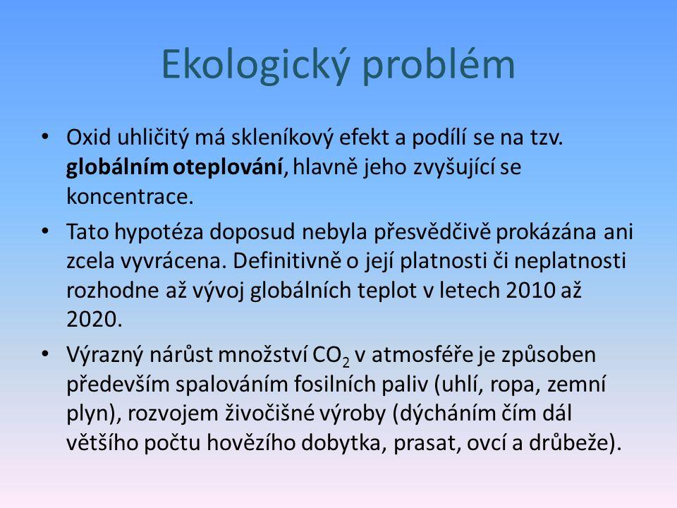 Ekologický problém Oxid uhličitý má skleníkový efekt a podílí se na tzv. globálním oteplování, hlavně jeho zvyšující se koncentrace. Tato hypotéza dop
