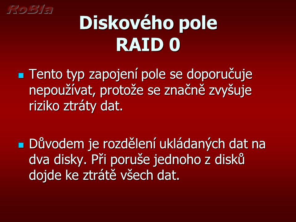 Diskového pole RAID 0 Tento typ zapojení pole se doporučuje nepoužívat, protože se značně zvyšuje riziko ztráty dat. Tento typ zapojení pole se doporu