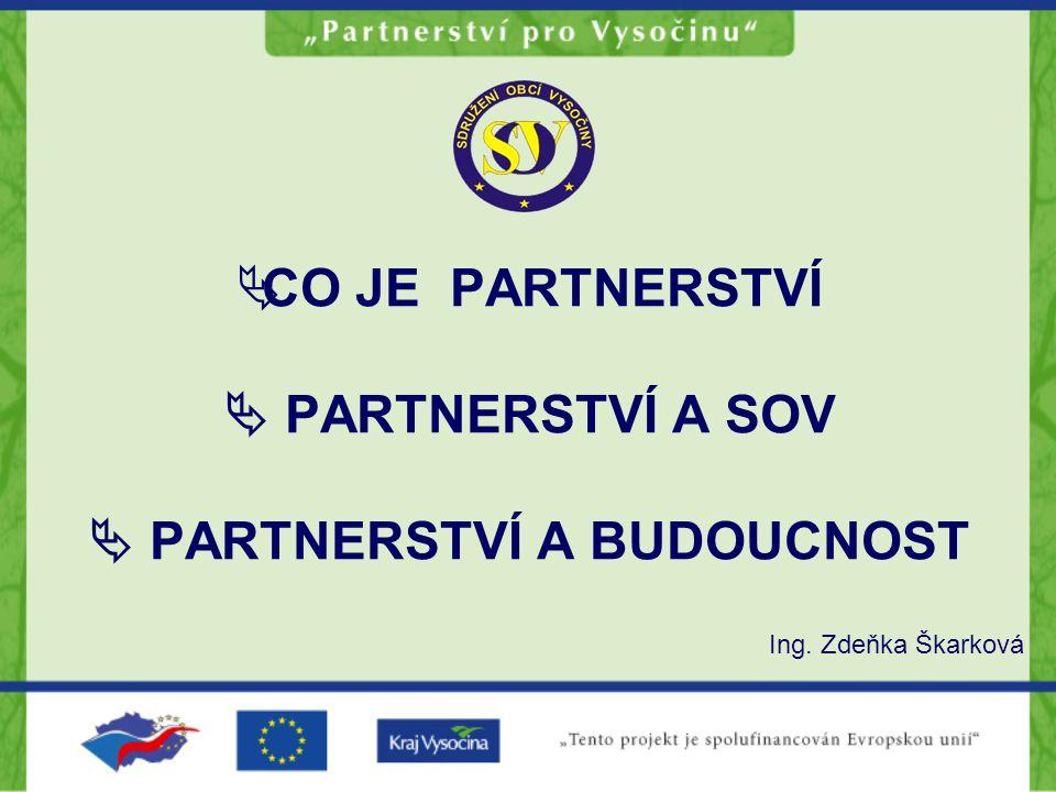 CO JE PARTNERSTVÍ Partnerství je skupina zástupců organizací a jednotlivců, která se vytváří, aby společně pracovala na řešení problému – např.
