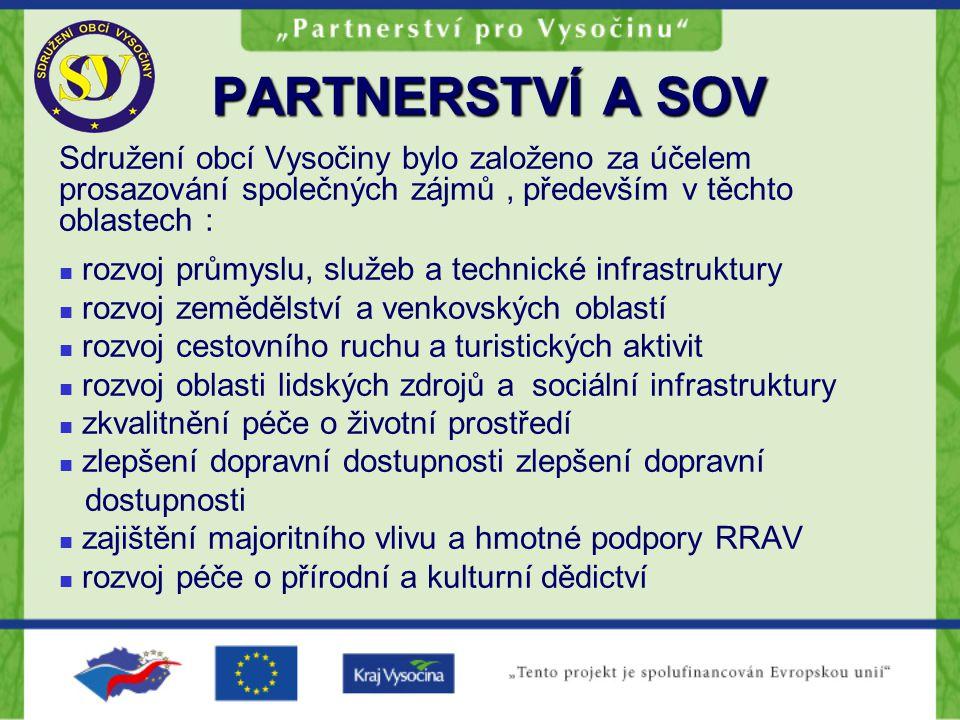 PARTNERSTVÍ A SOV členství je dobrovolné všichni členové mají stejné postavení při rozhodování členové sdružují společně prostředky, které využívají k financování společných projektů ( např.