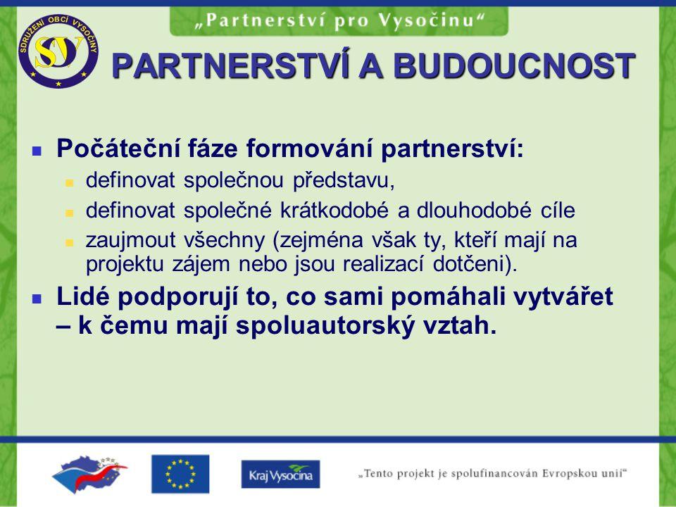 PARTNERSTVÍ A BUDOUCNOST Počáteční fáze formování partnerství: definovat společnou představu, definovat společné krátkodobé a dlouhodobé cíle zaujmout všechny (zejména však ty, kteří mají na projektu zájem nebo jsou realizací dotčeni).