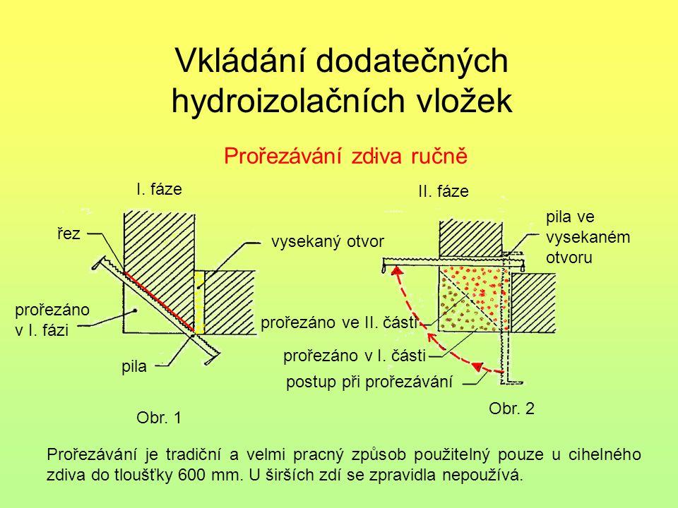 Vkládání dodatečných hydroizolačních vložek. Prořezávání zdiva ručně I. fáze II. fáze řez prořezáno v I. fázi pila vysekaný otvor pila ve vysekaném ot