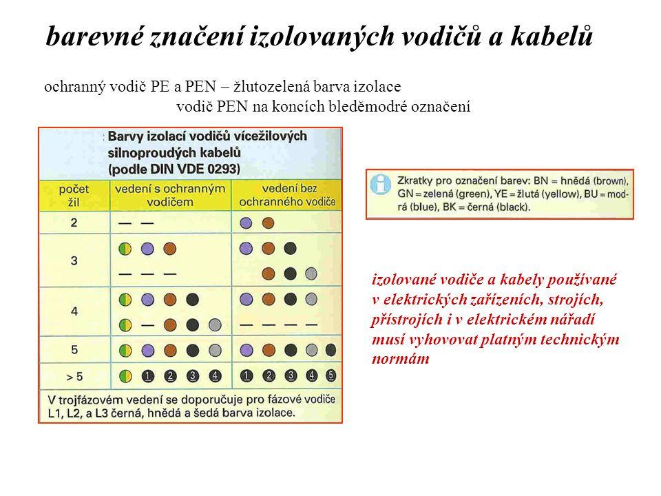 barevné značení izolovaných vodičů a kabelů ochranný vodič PE a PEN – žlutozelená barva izolace vodič PEN na koncích bleděmodré označení izolované vod