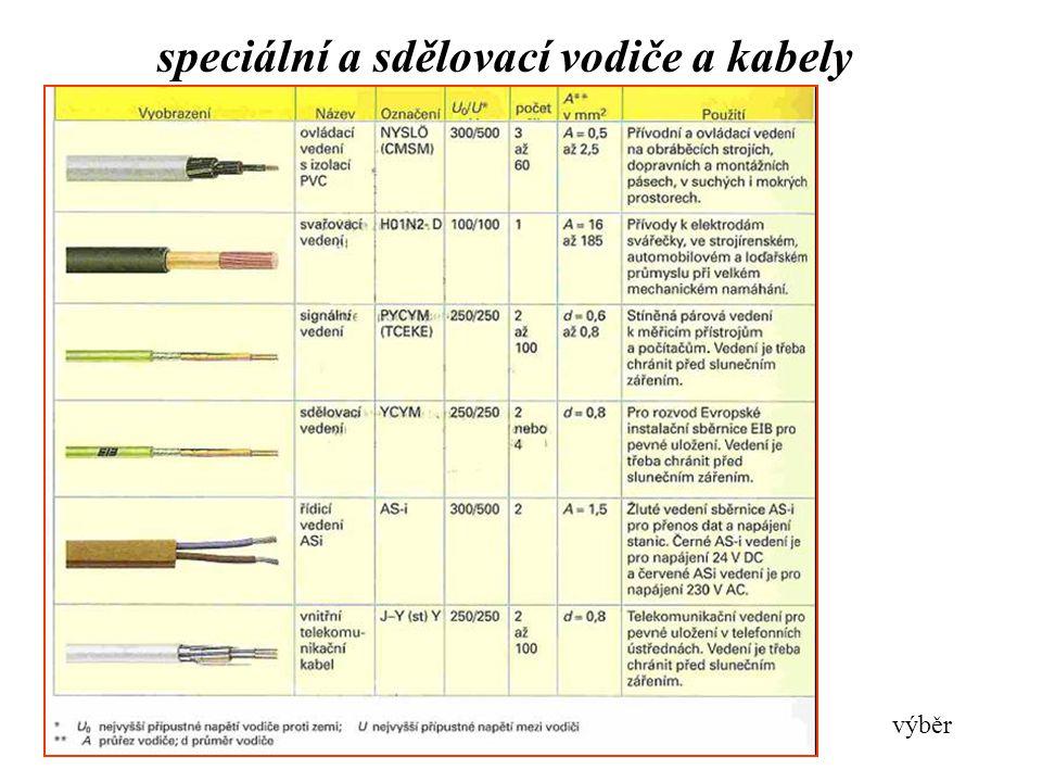 speciální a sdělovací vodiče a kabely výběr