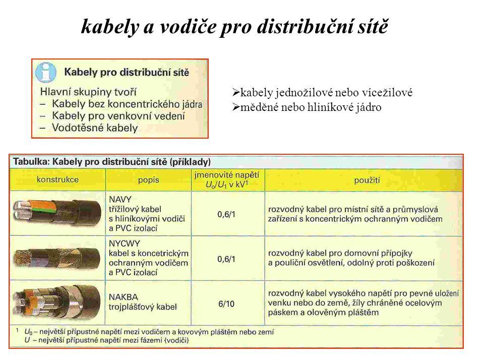 kabely a vodiče pro distribuční sítě  kabely jednožilové nebo vícežilové  měděné nebo hliníkové jádro