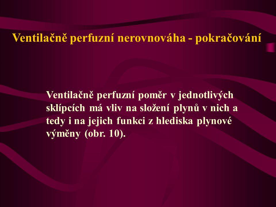Ventilačně perfuzní nerovnováha - pokračování Ventilačně perfuzní poměr v jednotlivých sklípcích má vliv na složení plynů v nich a tedy i na jejich funkci z hlediska plynové výměny (obr.