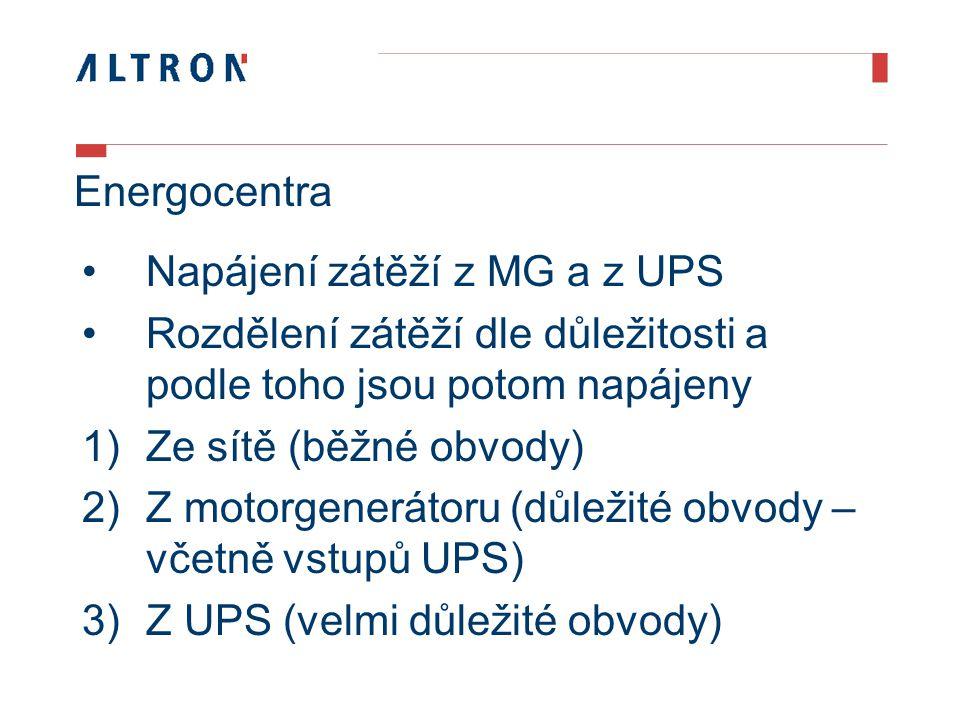 Energocentra Napájení zátěží z MG a z UPS Rozdělení zátěží dle důležitosti a podle toho jsou potom napájeny 1)Ze sítě (běžné obvody) 2)Z motorgenerátoru (důležité obvody – včetně vstupů UPS) 3)Z UPS (velmi důležité obvody)
