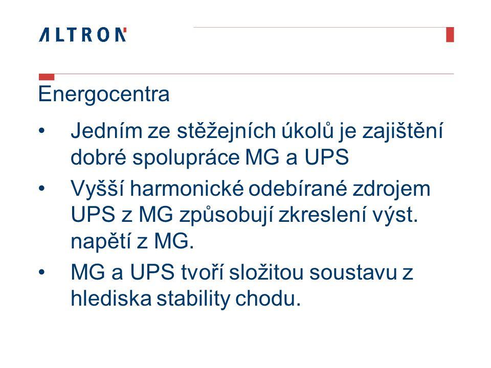 Energocentra Jedním ze stěžejních úkolů je zajištění dobré spolupráce MG a UPS Vyšší harmonické odebírané zdrojem UPS z MG způsobují zkreslení výst.