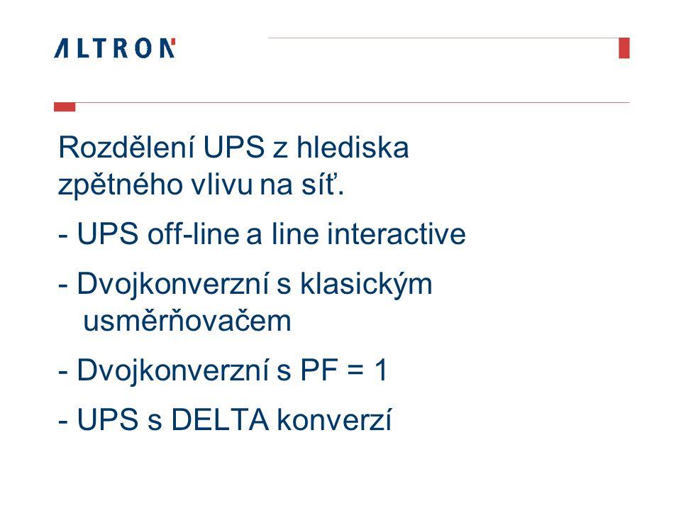 Rozdělení UPS z hlediska zpětného vlivu na síť.