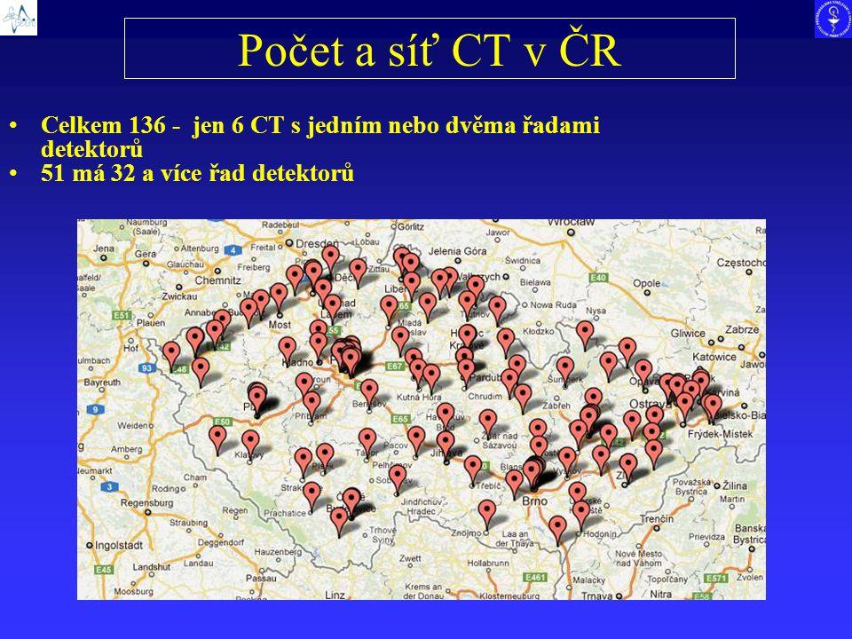 Počet a síť CT v ČR Celkem 136 - jen 6 CT s jedním nebo dvěma řadami detektorů 51 má 32 a více řad detektorů
