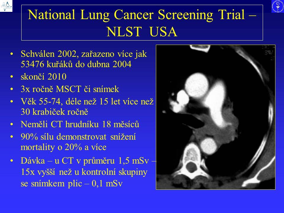 National Lung Cancer Screening Trial – NLST USA Schválen 2002, zařazeno více jak 53476 kuřáků do dubna 2004 skončí 2010 3x ročně MSCT či snímek Věk 55