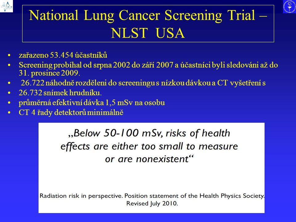 National Lung Cancer Screening Trial – NLST USA zařazeno 53.454 účastníků Screening probíhal od srpna 2002 do září 2007 a účastníci byli sledováni až