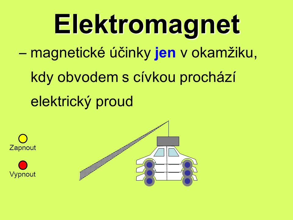 Elektromagnet – magnetické účinky jen v okamžiku, kdy obvodem s cívkou prochází elektrický proud Zapnout Vy pnout