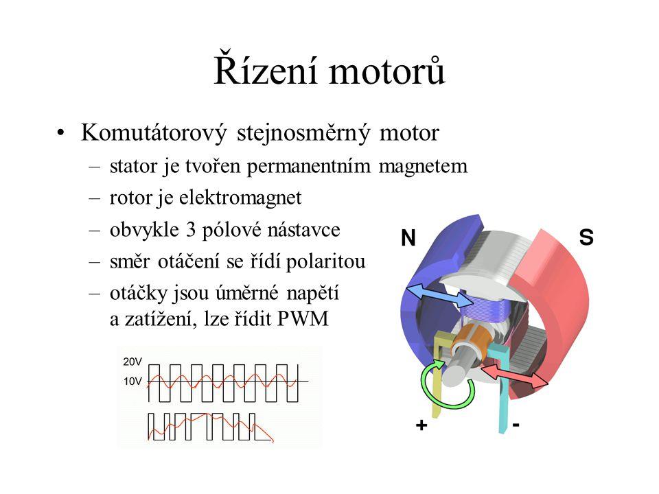 Řízení motorů Komutátorový stejnosměrný motor –stator je tvořen permanentním magnetem –rotor je elektromagnet –obvykle 3 pólové nástavce –směr otáčení se řídí polaritou –otáčky jsou úměrné napětí a zatížení, lze řídit PWM