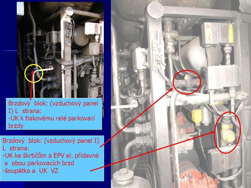 Brzdový blok: (vzduchový panel I) L strana: -UK ke škrtičům a EPV el. přídavné a obou parkovacích brzd -šoupátko a UK VZ Brzdový blok: (vzduchový pane