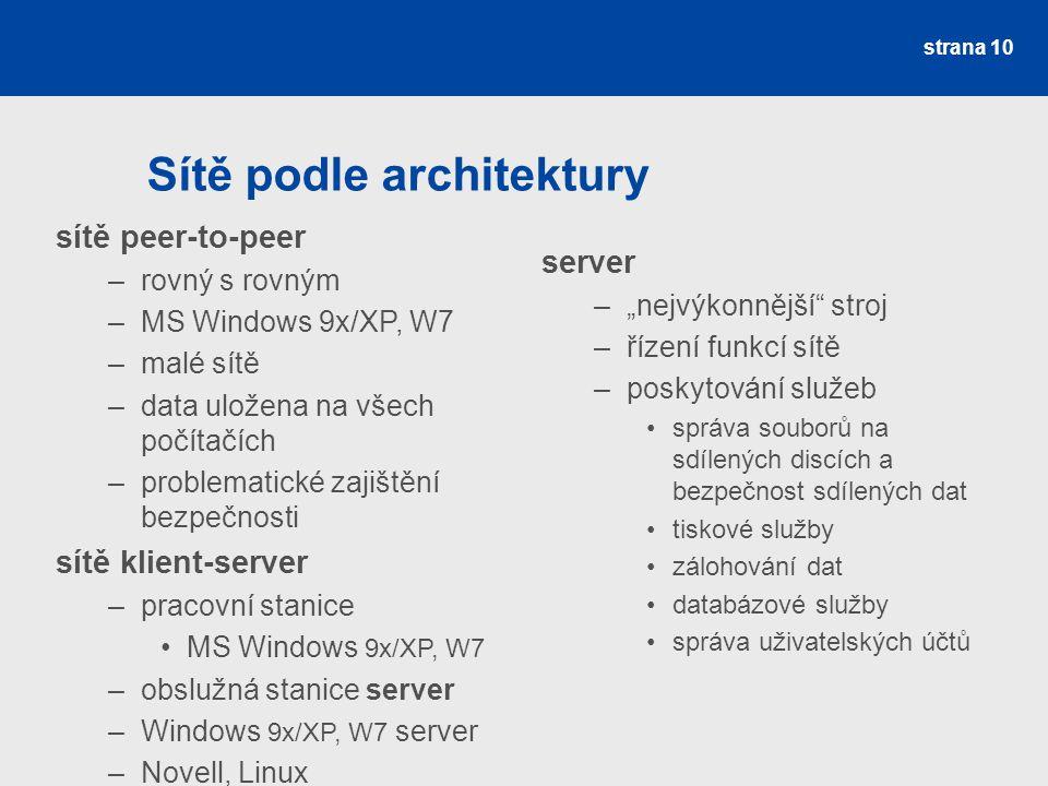 Sítě podle architektury strana 10 sítě peer-to-peer –rovný s rovným –MS Windows 9x/XP, W7 –malé sítě –data uložena na všech počítačích –problematické