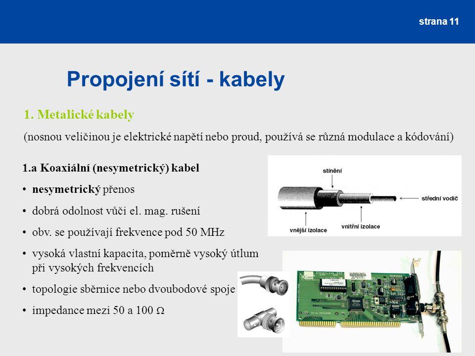 Propojení sítí - kabely strana 11 1. Metalické kabely (nosnou veličinou je elektrické napětí nebo proud, používá se různá modulace a kódování) 1.a Koa
