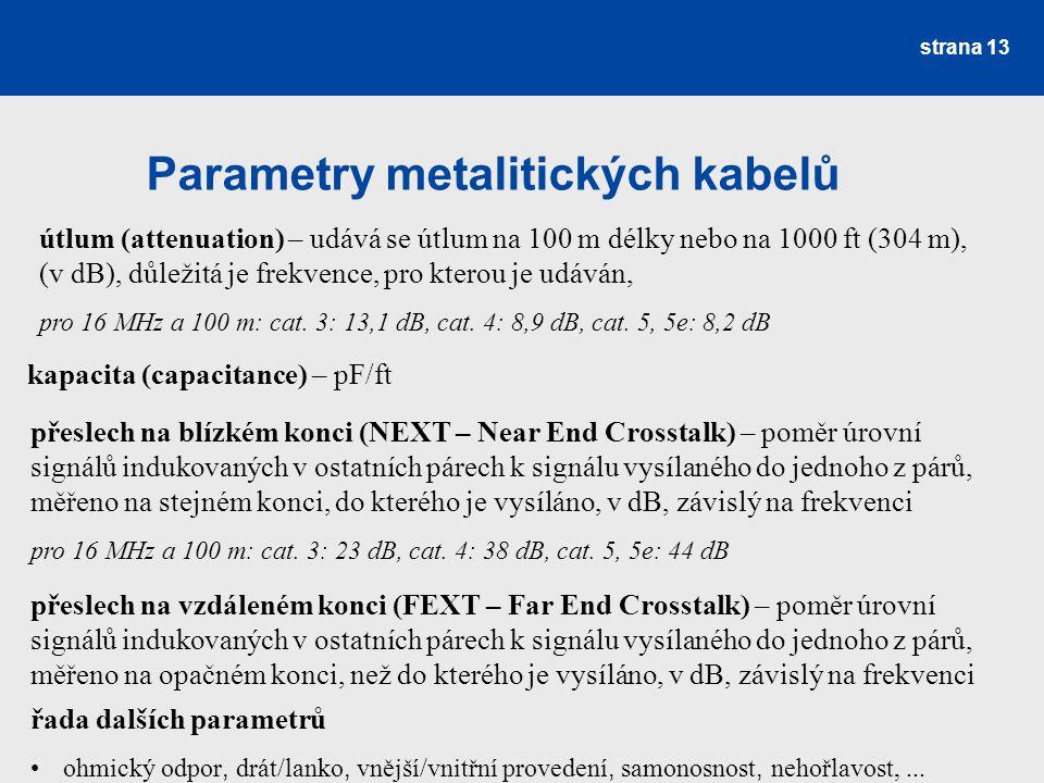 Parametry metalitických kabelů strana 13 útlum (attenuation) – udává se útlum na 100 m délky nebo na 1000 ft (304 m), (v dB), důležitá je frekvence, p