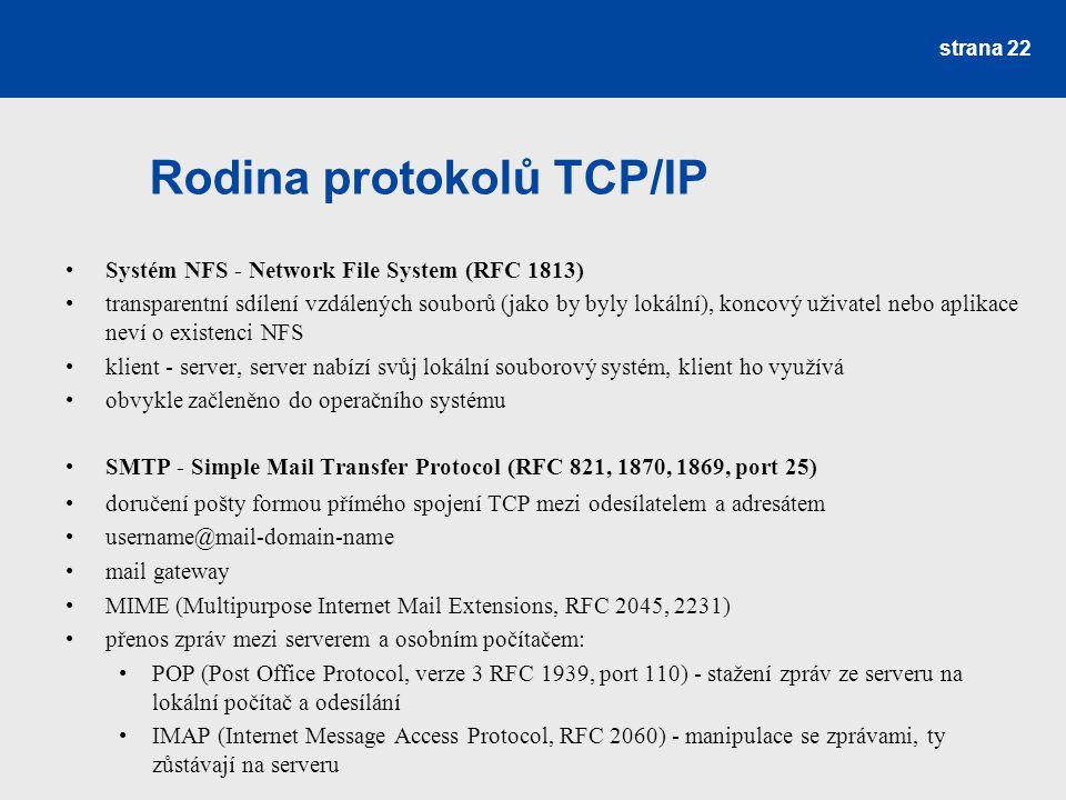 Rodina protokolů TCP/IP Systém NFS - Network File System (RFC 1813) transparentní sdílení vzdálených souborů (jako by byly lokální), koncový uživatel