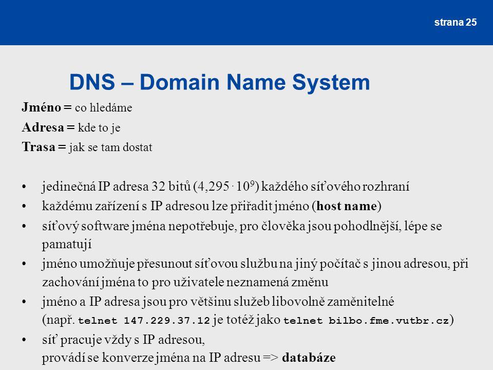 DNS – Domain Name System strana 25 Jméno = co hledáme Adresa = kde to je Trasa = jak se tam dostat jedinečná IP adresa 32 bitů (4,295. 10 9 ) každého