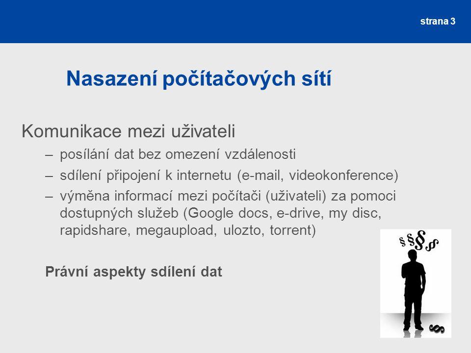 Nasazení počítačových sítí Komunikace mezi uživateli –posílání dat bez omezení vzdálenosti –sdílení připojení k internetu (e-mail, videokonference) –v