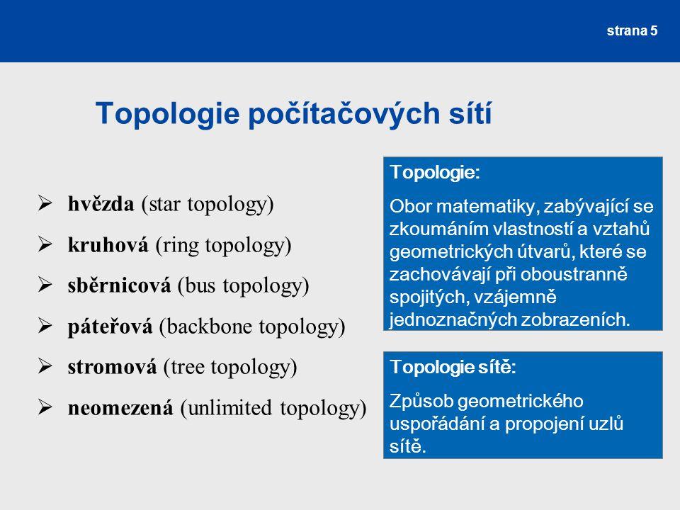 Topologie počítačových sítí strana 5  hvězda (star topology)  kruhová (ring topology)  sběrnicová (bus topology)  páteřová (backbone topology)  s