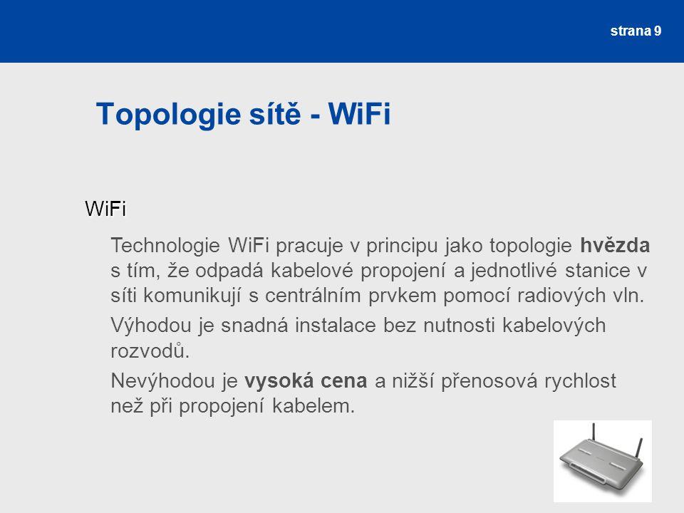Topologie sítě - WiFi strana 9 WiFi WiFi Technologie WiFi pracuje v principu jako topologie hvězda s tím, že odpadá kabelové propojení a jednotlivé st