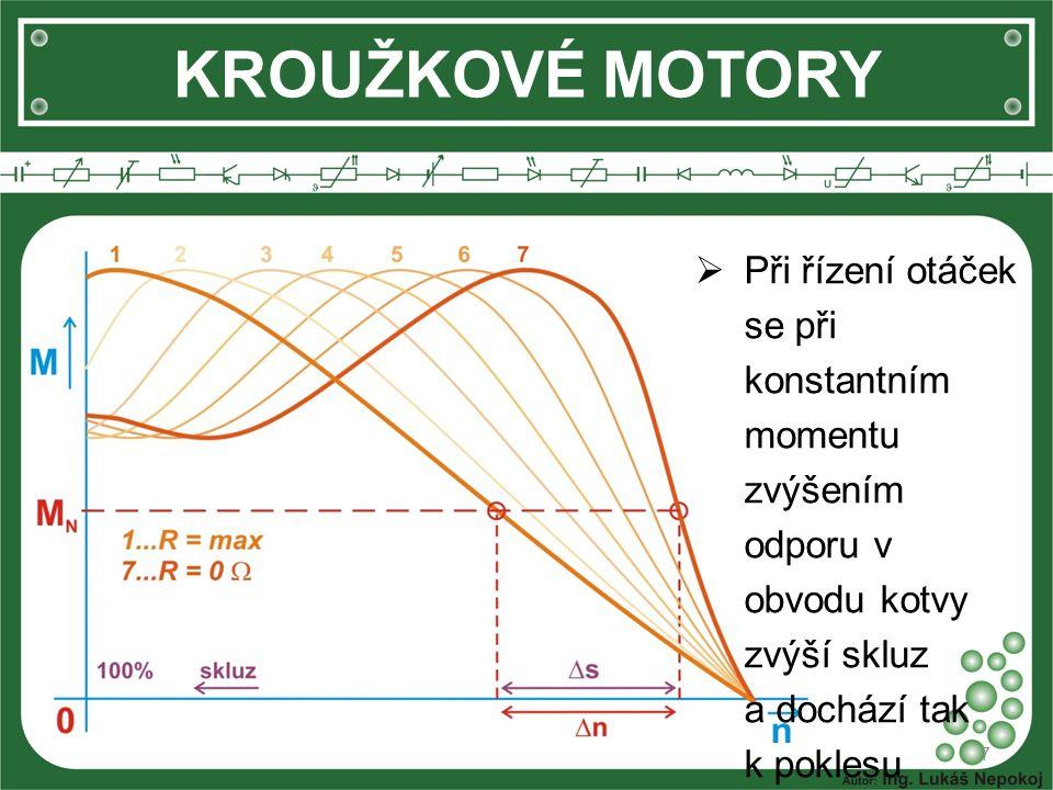 KROUŽKOVÉ MOTORY  Při řízení otáček se při konstantním momentu zvýšením odporu v obvodu kotvy zvýší skluz a dochází tak k poklesu otáček. 7