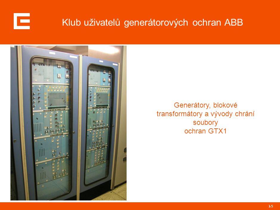 15 Klub uživatelů generátorových ochran ABB Generátory, blokové transformátory a vývody chrání soubory ochran GTX1