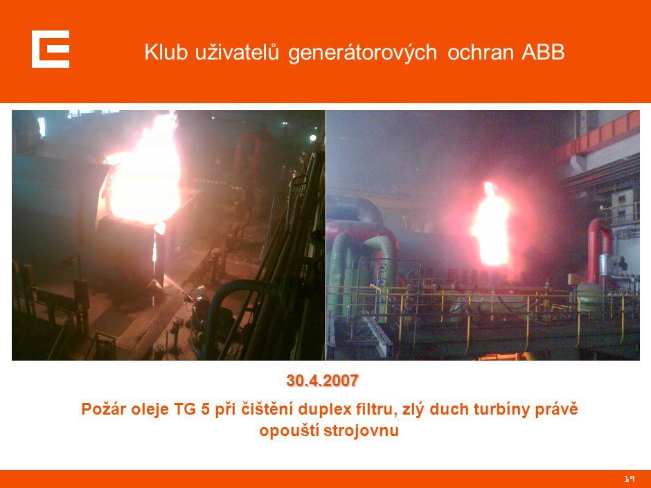 19 Klub uživatelů generátorových ochran ABB Požár oleje TG 5 při čištění duplex filtru, zlý duch turbíny právě opouští strojovnu 30.4.2007