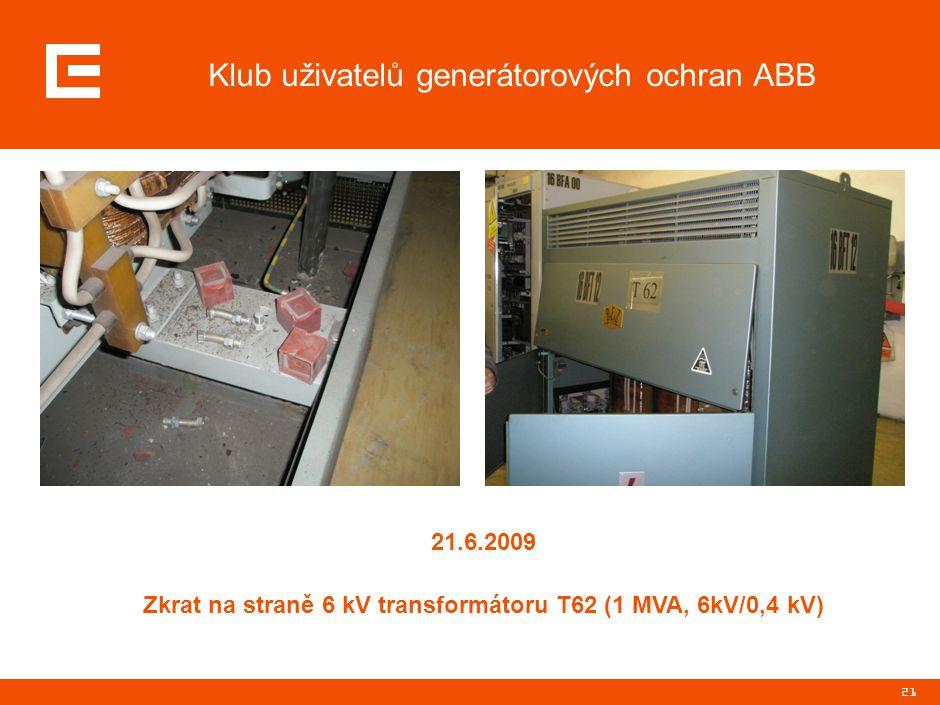 21 Klub uživatelů generátorových ochran ABB 21.6.2009 Zkrat na straně 6 kV transformátoru T62 (1 MVA, 6kV/0,4 kV)