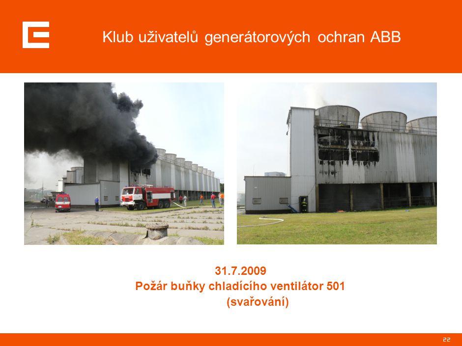 22 Klub uživatelů generátorových ochran ABB 31.7.2009 Požár buňky chladícího ventilátor 501 (svařování)