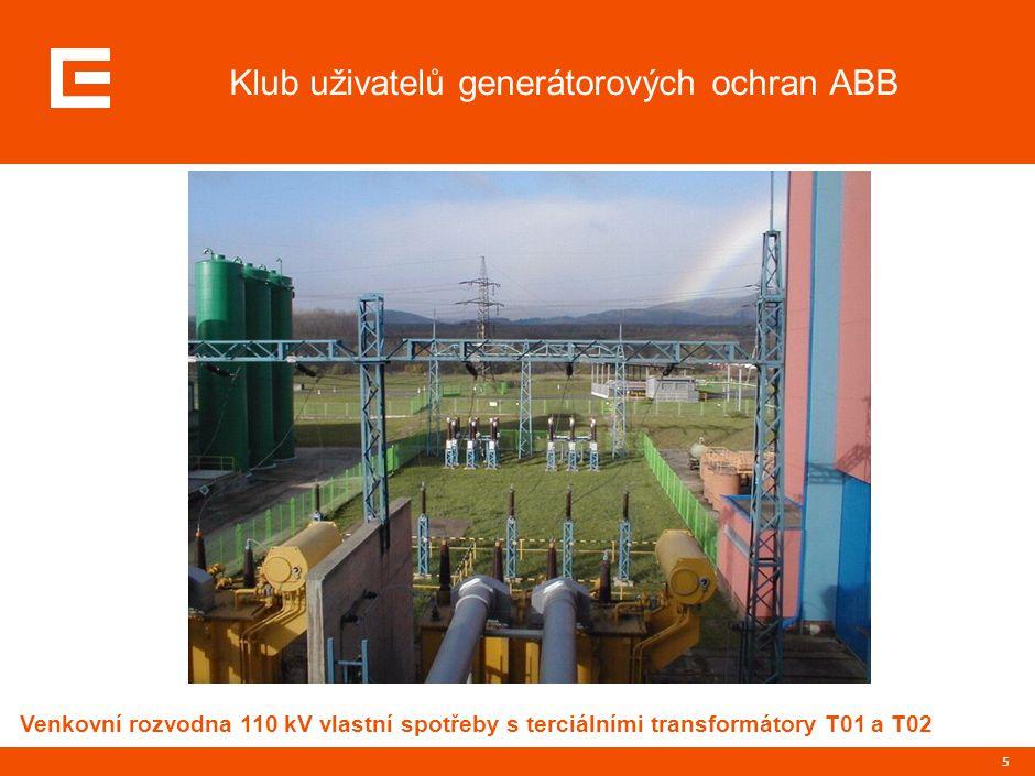 5 Klub uživatelů generátorových ochran ABB Venkovní rozvodna 110 kV vlastní spotřeby s terciálními transformátory T01 a T02