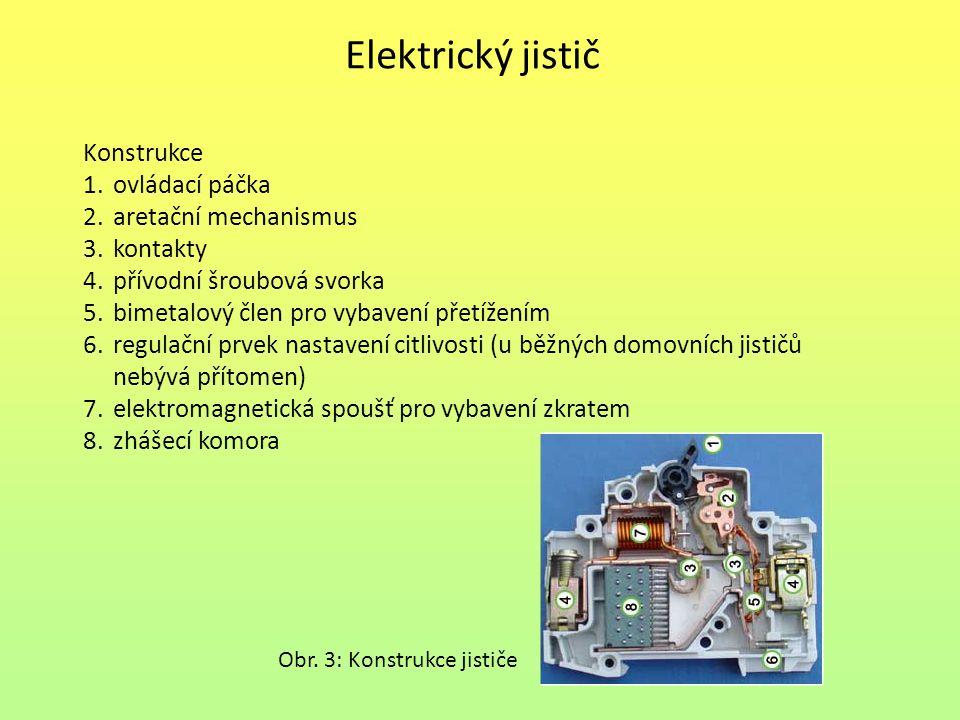 Elektrický jistič Konstrukce 1.ovládací páčka 2.aretační mechanismus 3.kontakty 4.přívodní šroubová svorka 5.bimetalový člen pro vybavení přetížením 6