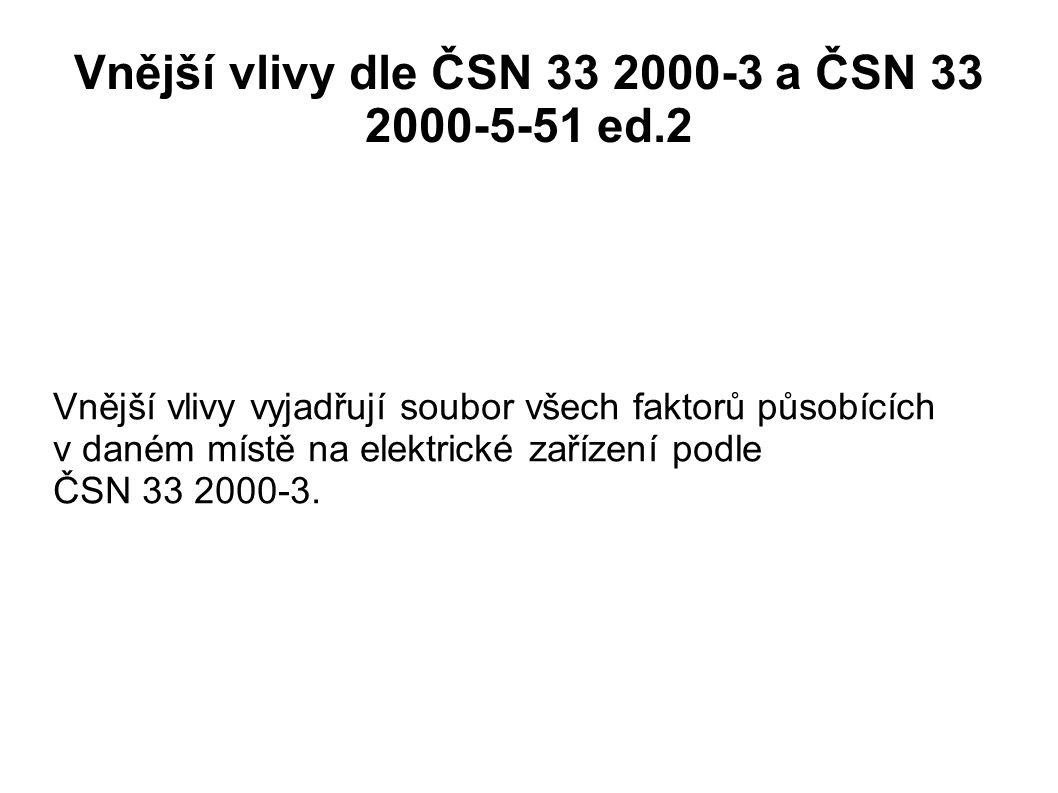Vnější vlivy dle ČSN 33 2000-3 a ČSN 33 2000-5-51 ed.2 Vnější vlivy vyjadřují soubor všech faktorů působících v daném místě na elektrické zařízení pod