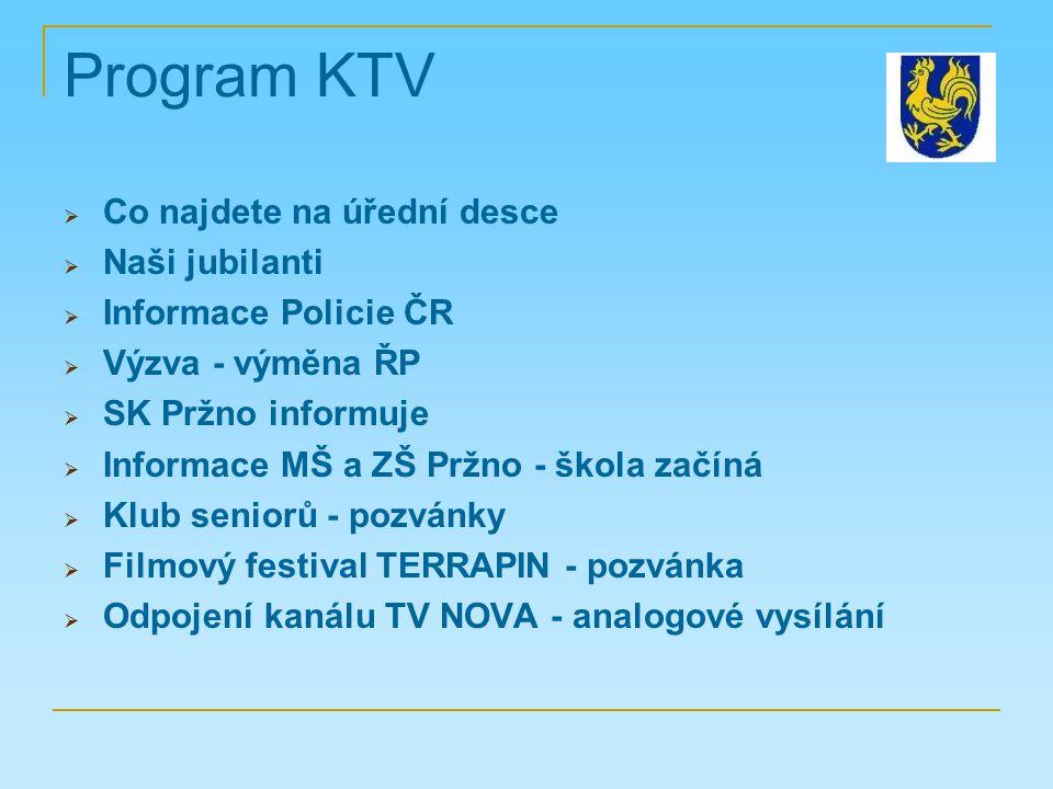 Program KTV  Co najdete na úřední desce  Naši jubilanti  Informace Policie ČR  Výzva - výměna ŘP  SK Pržno informuje  Informace MŠ a ZŠ Pržno -