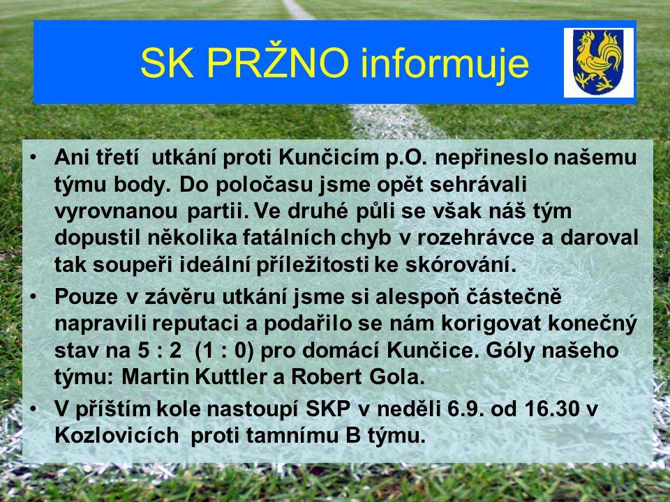 SK PRŽNO informuje Ani třetí utkání proti Kunčicím p.O. nepřineslo našemu týmu body. Do poločasu jsme opět sehrávali vyrovnanou partii. Ve druhé půli