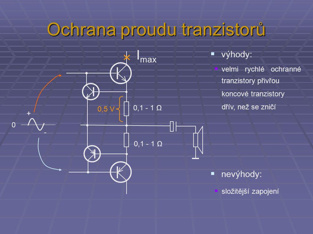 Ochrana proudu tranzistorů 0,1 - 1 Ω 0 + - 0,5 V I max  výhody:  velmi rychlé ochranné tranzistory přivřou koncové tranzistory dřív, než se zničí  složitější zapojení  nevýhody: