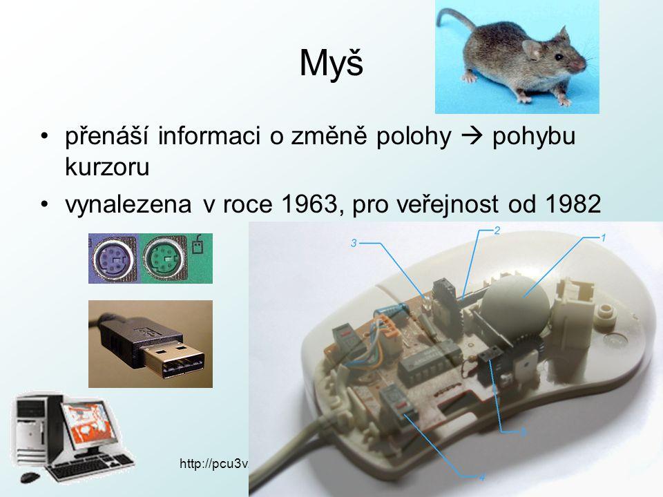 Myš přenáší informaci o změně polohy  pohybu kurzoru vynalezena v roce 1963, pro veřejnost od 1982 http://pcu3v.fjfi.cvut.cz