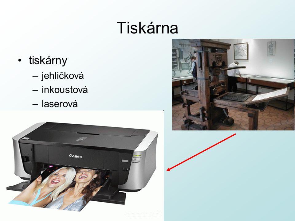 Tiskárna tiskárny –jehličková –inkoustová –laserová